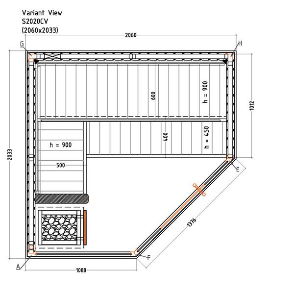 Saunakabine  Variant View Corner Large Plan