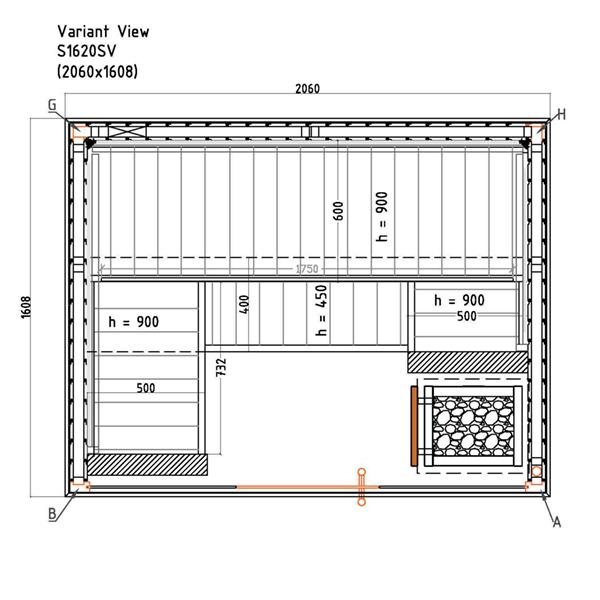 Saunakabine  Variant View Medium Plan